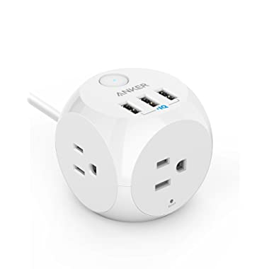 Power Strip, Anker PowerPort Cube, 3 Outlets and 3 USB Ports with Switch Control, Overload Protection, 5 ft Cable, for iPhone XS/Max/XR and More, Ultra-Compact for Travel and Office [UL Listed]