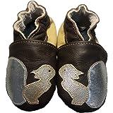 Noisette de BBKDOM - Chaussons bébé et enfant en cuir souple de qualité supérieure Fabrication Européenne de 0 à 5 ans - Pointures 19-20 (6 à 12 mois) b