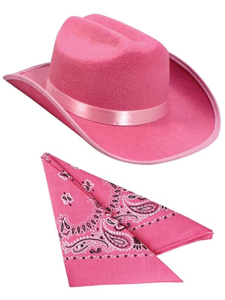 8330d25e87f Amazon.com  Kids Pink Cowboy Outlaw Felt Hat And Bandana Play Set Costume  Accessory  Clothing