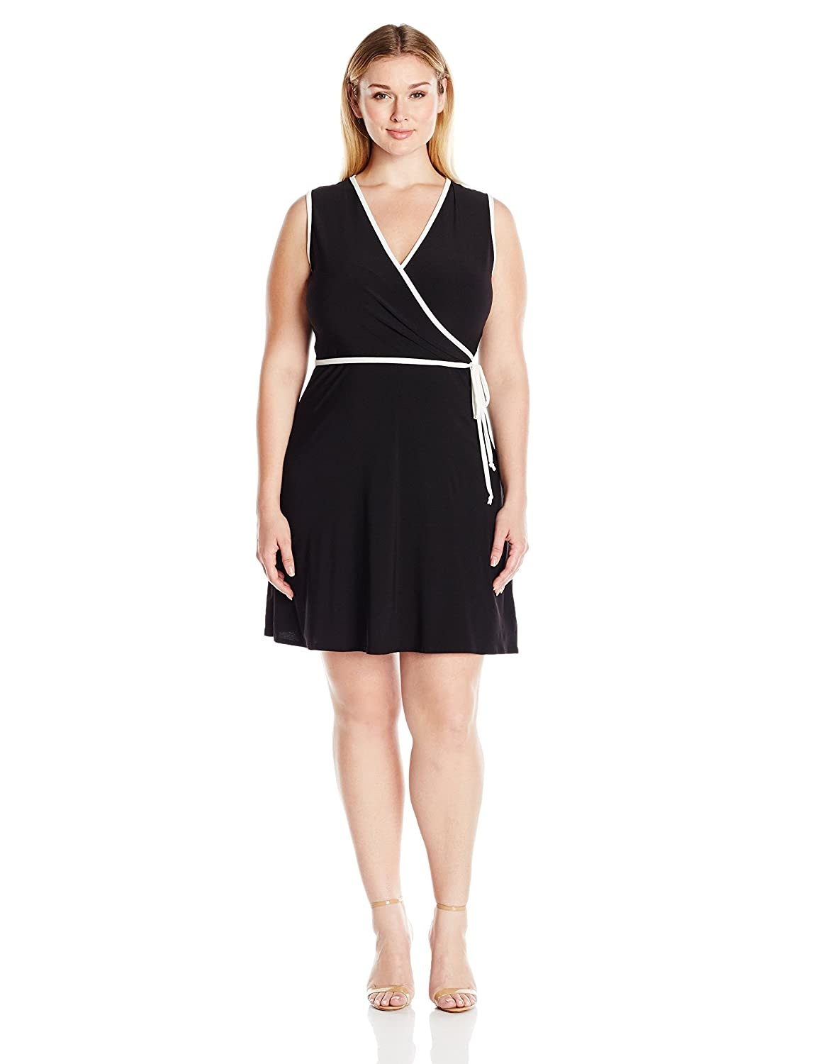 Star Vixen Women's Plus-Size Sleeveless Fauxwrap Dress with Piping Star Vixen Child Code 3571-ITX