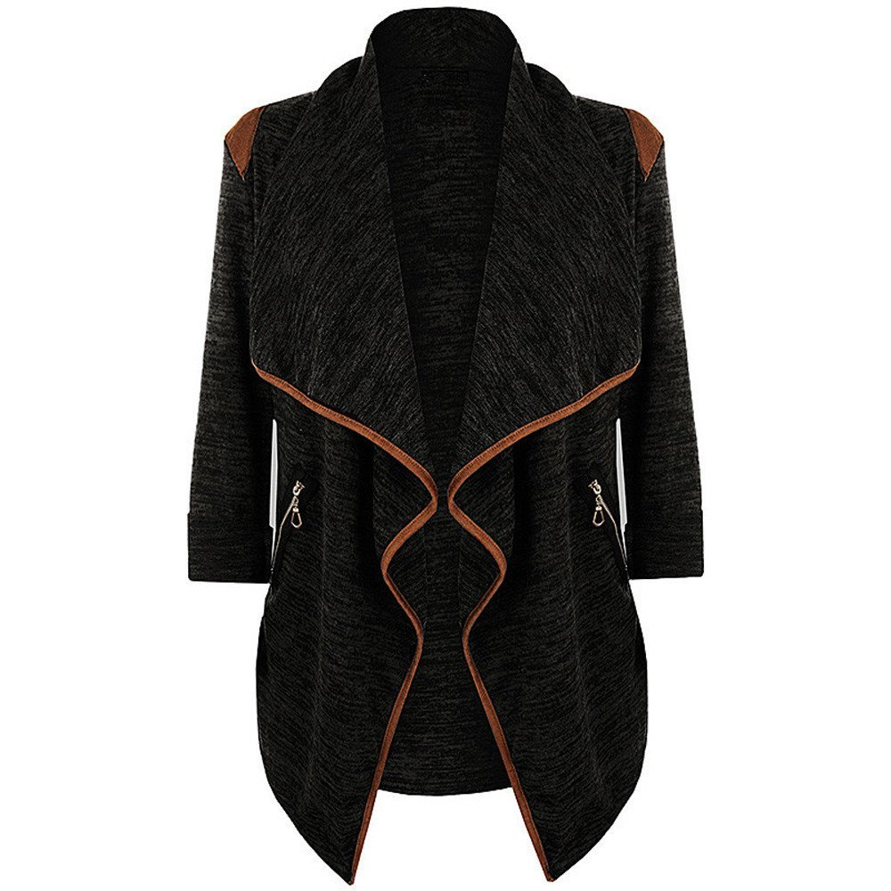 YKA Women's Tops, Plus Size Womens Knitted Casual Long Sleeve Tops Cozy Cardigan Jacket Outwear