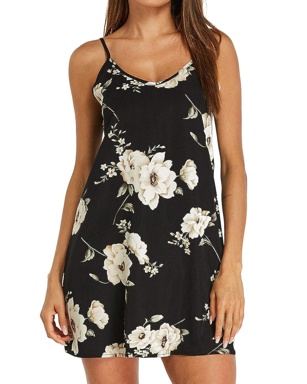 Style Dome Sommerkleid Damen Kurze Strandkleid V Ausschnit Elegant Schulterfrei Ärmellos Blumenmuster Minikleider