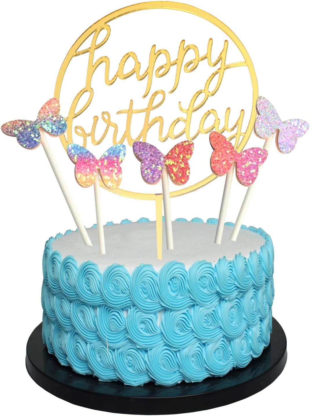 Tremendous Amazon Com Happy Birthday Cake Topper Acrylic Gold Twinkle Diy Birthday Cards Printable Benkemecafe Filternl