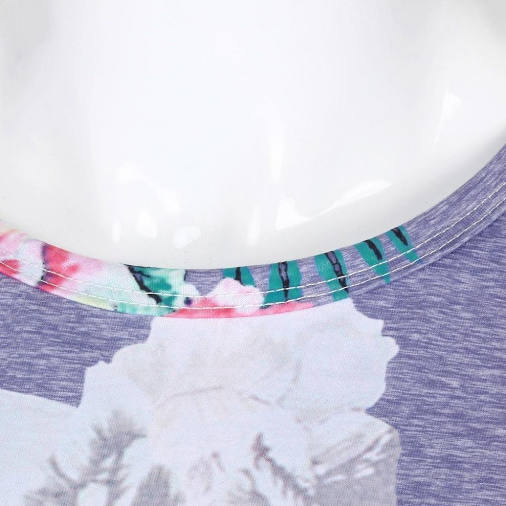 2018/Mujer Camiseta Manga Corta ronamick Fashion o de Recorte Mujeres Manga Corta splei/ßen Rayas Flores impresi/ón Tops Blusa Camiseta