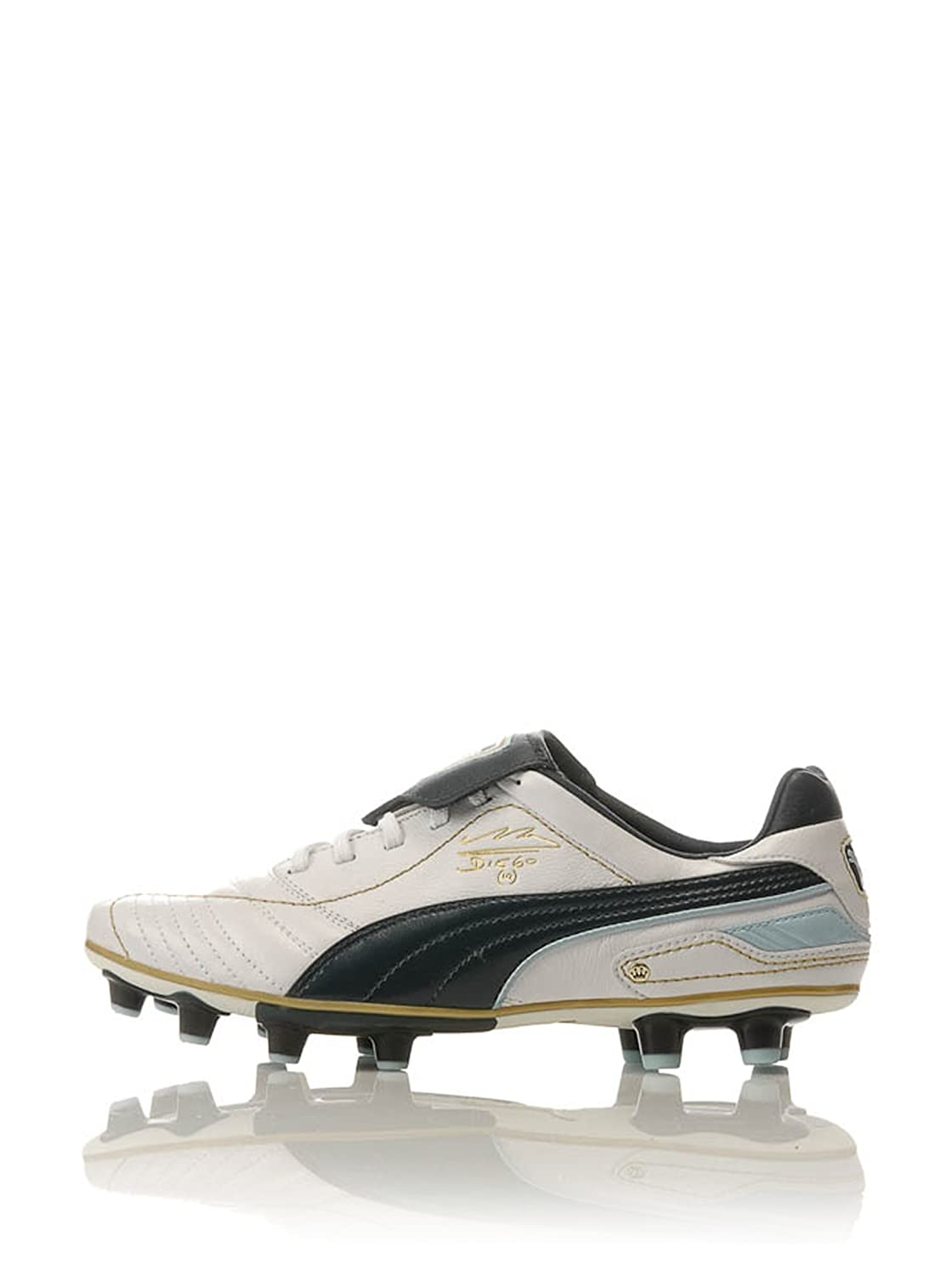 reputable site 531d2 c53c4 Puma King Diego Finale I Firm Ground Football Boots - White Midnight  Navy Crystal Blue Team Gold - UK Size 8  Amazon.co.uk  Sports   Outdoors