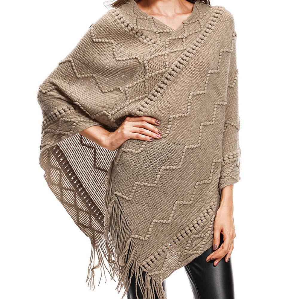 AOJIAN Women Hoodie Long Sleeve Hooded Tassels Cloak Solid Sweater Pullover