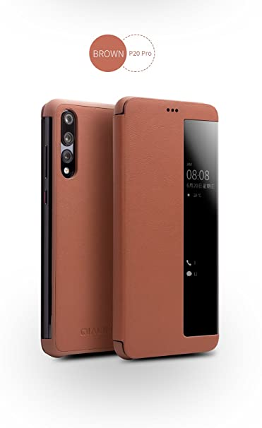 check out 70e35 d503e Huawei P20 Pro Case, QIALINO Slim Flip Genuine Leather Smart Cover P20 Pro  Phone Bumper (with Smart Window and Auto Screen Sleep/Wake) for Huawei P20  ...