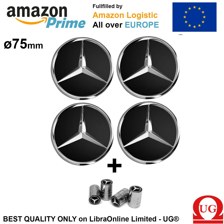 4 centros de tapacubos para llantas de aleación, con logotipo negro de Mercedes de 75 mm, Clase A, B, C, E, CLK, GL, M, ML, SLK: Amazon.es: Coche y moto