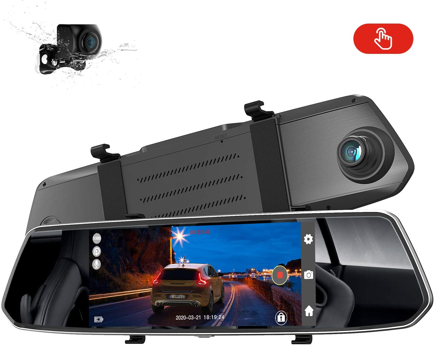 G-Sensor AUTOSOCT Dual Mirror Dash Cam with 7/'/' Touch Screen Waterproof Backup Camera Rear View Dash Camera for Cars with Night Vision Loop Recording Parking Monitor Motion Detection
