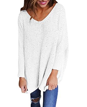free pull long femme pull maille oversize pull over ample pulls col v  sweater manche longue chandail tricot top tricot chic feminin chaud  pullover automne ... f05f9ebbc4e4