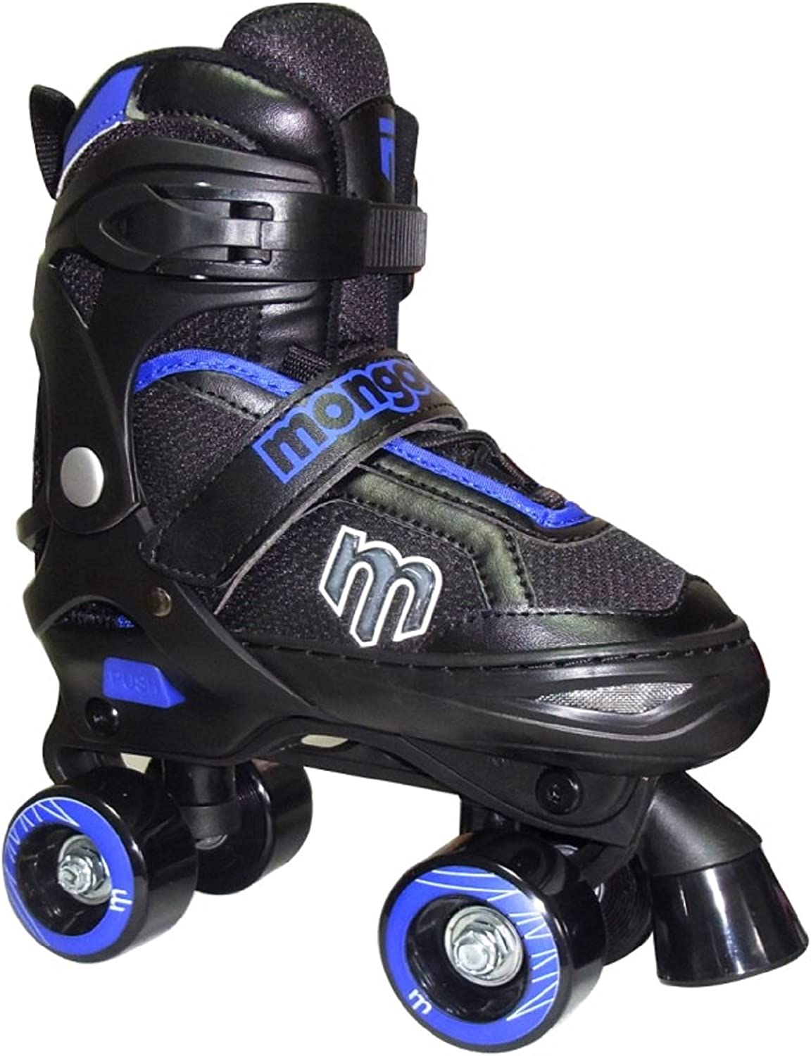 Mongoose Adjustable Quad Roller Skate- 青 and 黒- Sizes 1-4 by Mongoose