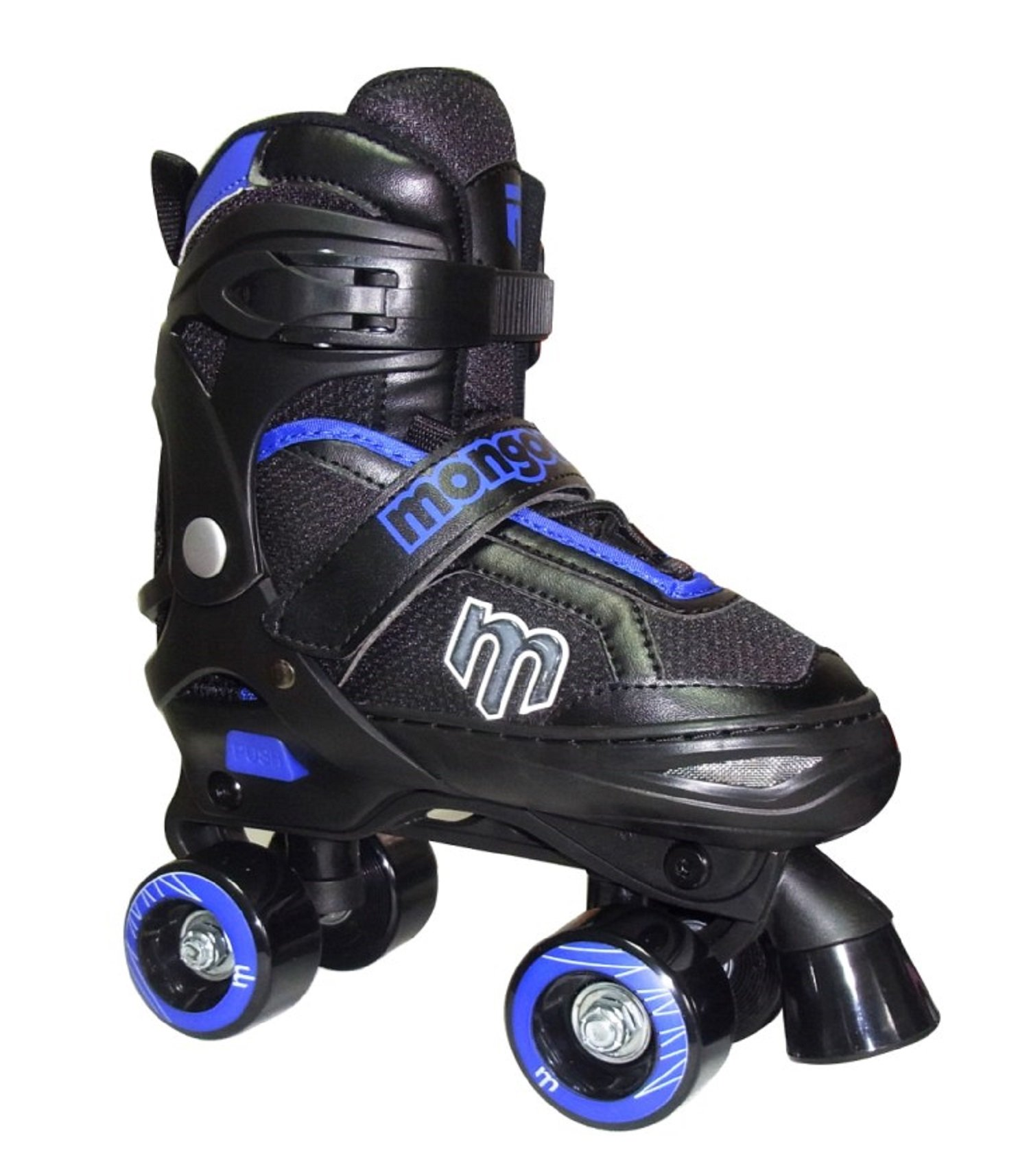 Mongoose Adjustable Quad Roller Skate- Blue and Black- Sizes 1-4