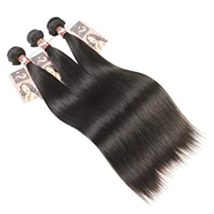 Nefertiti Hair 10-26inches Brazilian Virgin Human Hair Extension Silky Straight, Pack of Three, 7A Natural Color Weft (10 12 14)