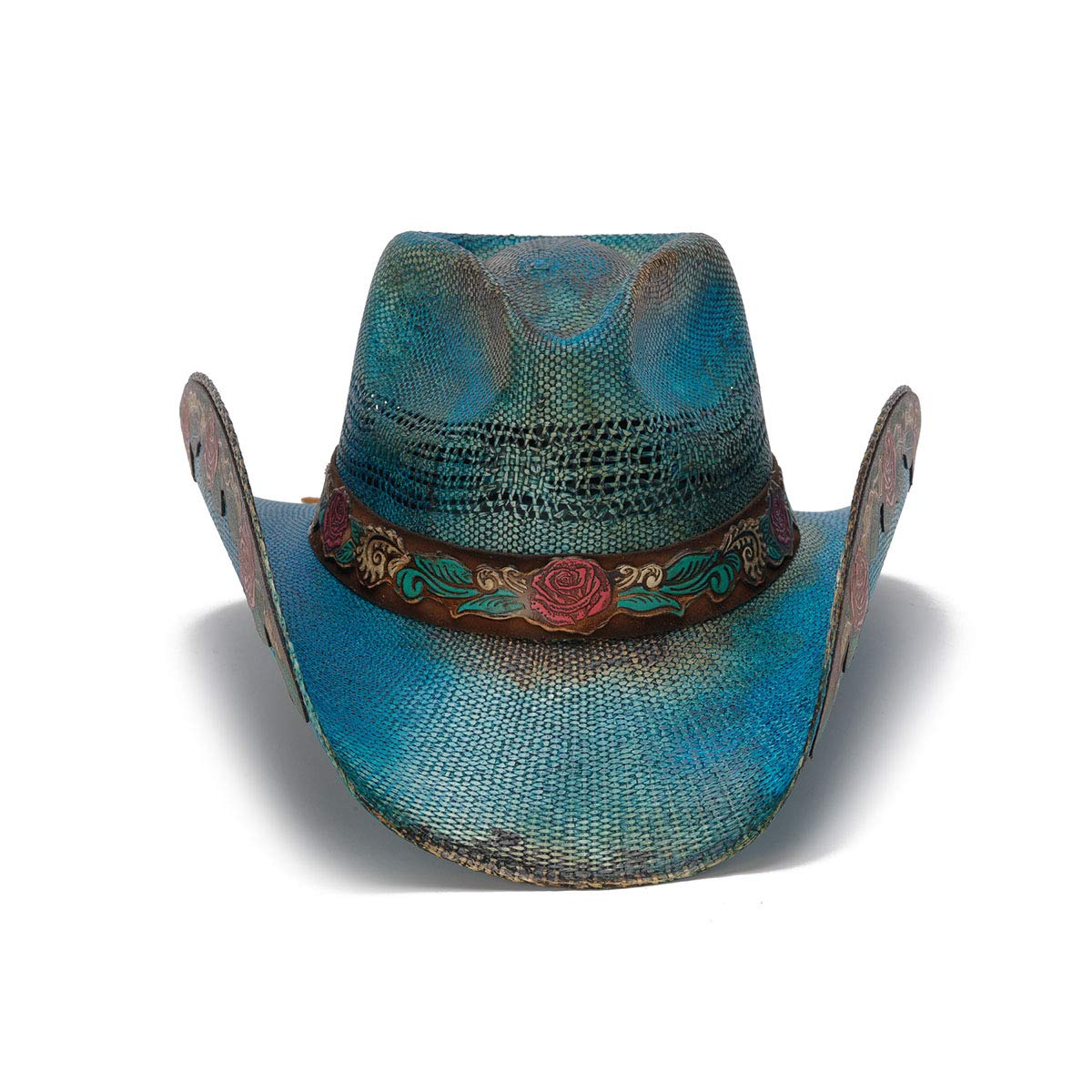 Stampede Hats Women's Love Story Rose Straw Western Hat M Blue by Stampede Hats (Image #2)