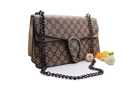 f496895027d3 GD Dionysos 400249 Style Small Designer Handbag Suede Lining Bags  Cross-Body for Women Chain Canvas Tiger Head Phone Purse -Khaki Small