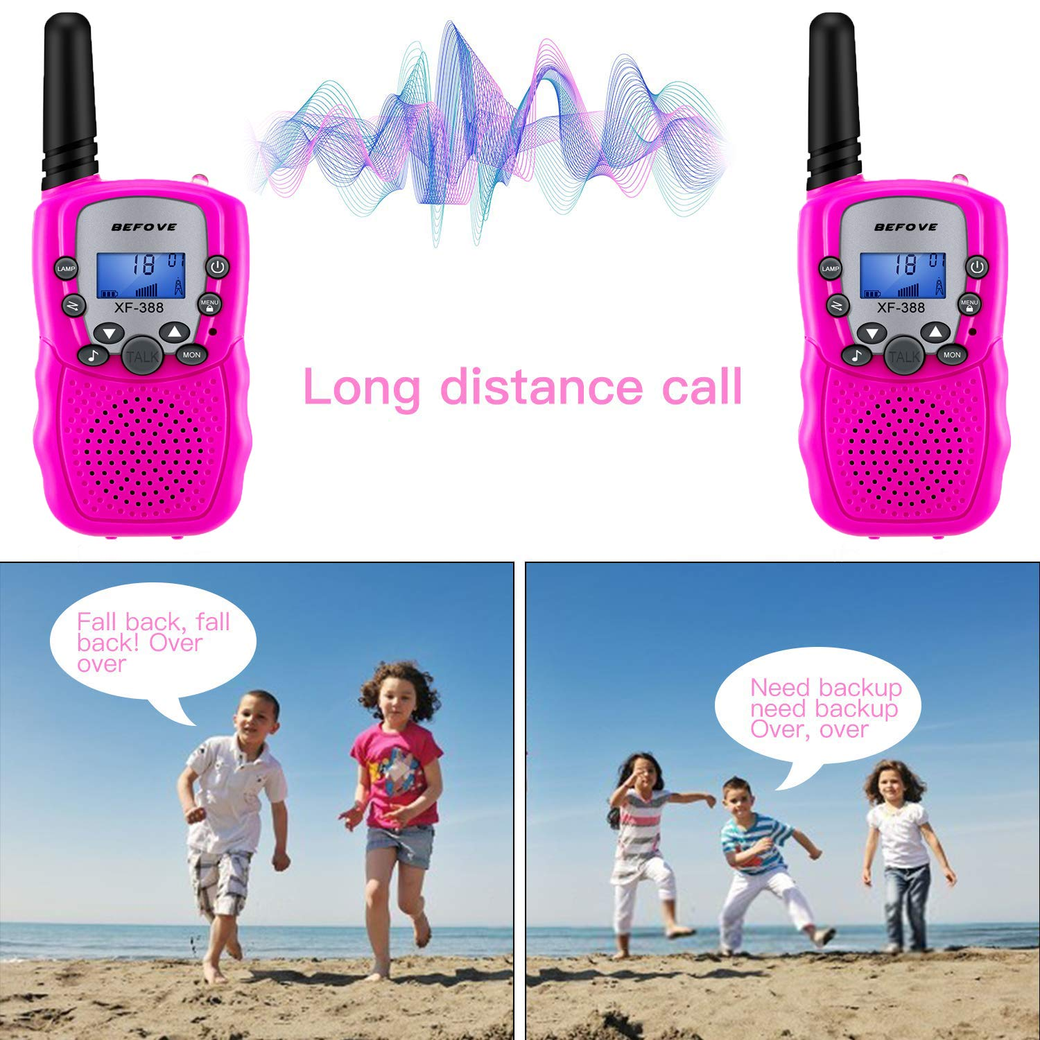 Befove Walkie Talkies, 3 x Walkie Talkie Kids 22 Channel Handheld FRS Transceiver Two Way Radios Long Range Walky Talky for Kids Adults, Camping Hiking Outdoor Use with Straps by Befove (Image #3)