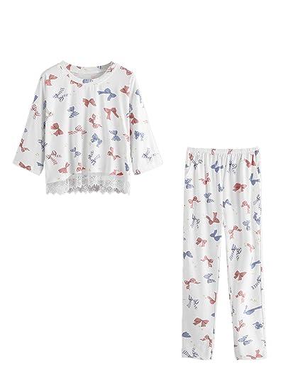 SweatyRocks Women s Cotton Pajama Sets Print Half Sleeve Sleepwear Lace Pjs  Sets White Large at Amazon Women s Clothing store  ed786ebbe8