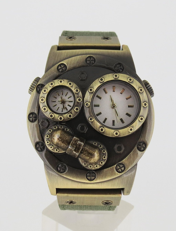 Verne Voyage Dual time Japan Brass Antiqua Steampunk Travel Watch 3