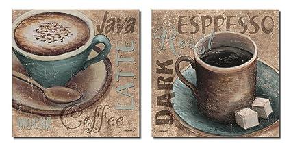 Popular Classic Coffee Espresso Java Dark Roast Signs; Kitchen Decor; Two  12x12in Poster Prints