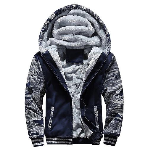 Cebbay Liquidación Outwear de los Hombres Bolsillo de Camuflaje con Cremallera para Invierno cálido Sudadera con