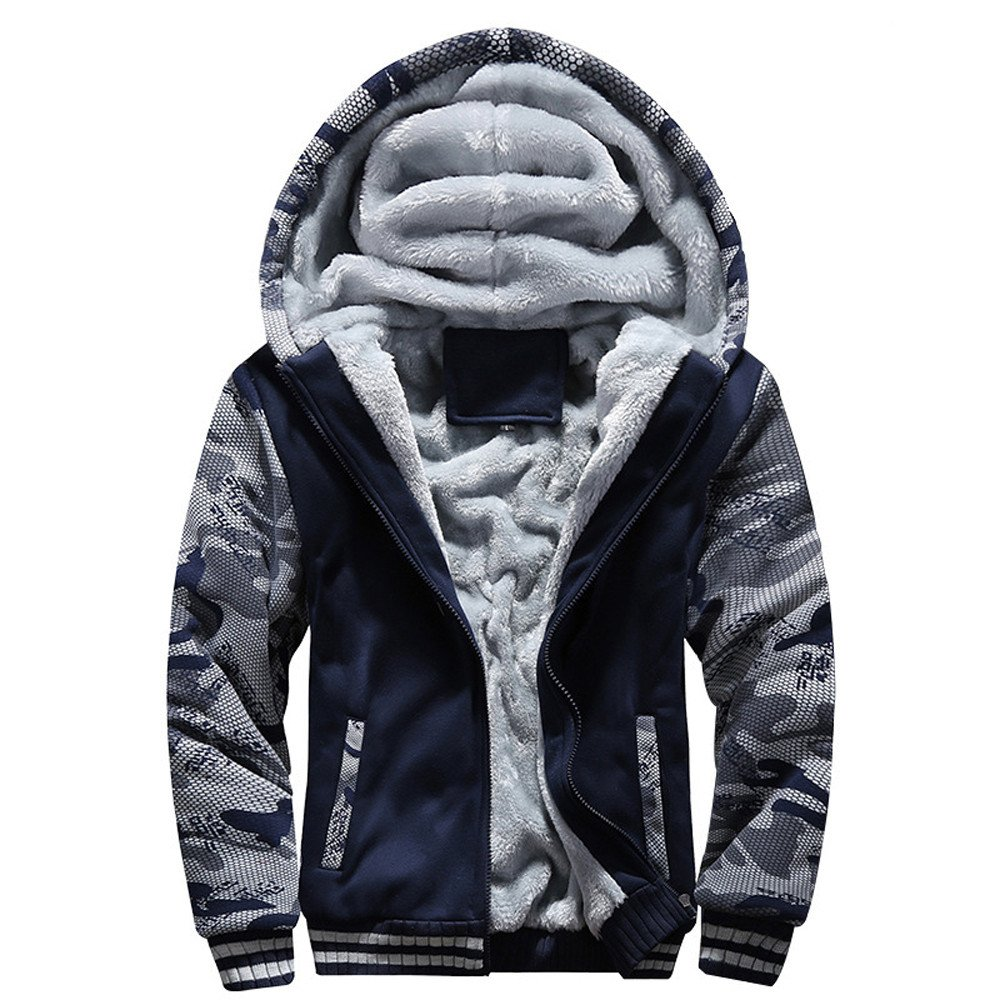 SHINEHUA Herren Herbst Elegante, Herren M-4XL Winter warm Fleece-Kapuze Reißverschluss-Pullover Jacke Outwear Mantel Streetwear Menswear Autumn/Winter Sweater Hoodie Jacket