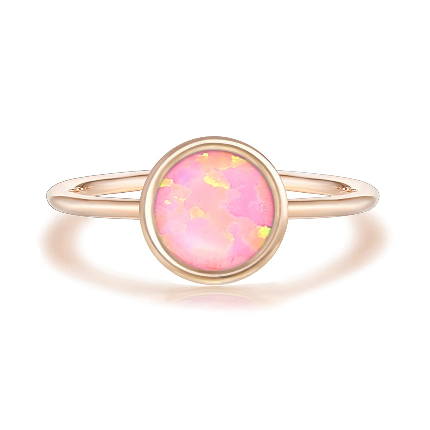 Amazon.com: PAVOI 14K Rose Gold Plated Stackable Ring Created White ...