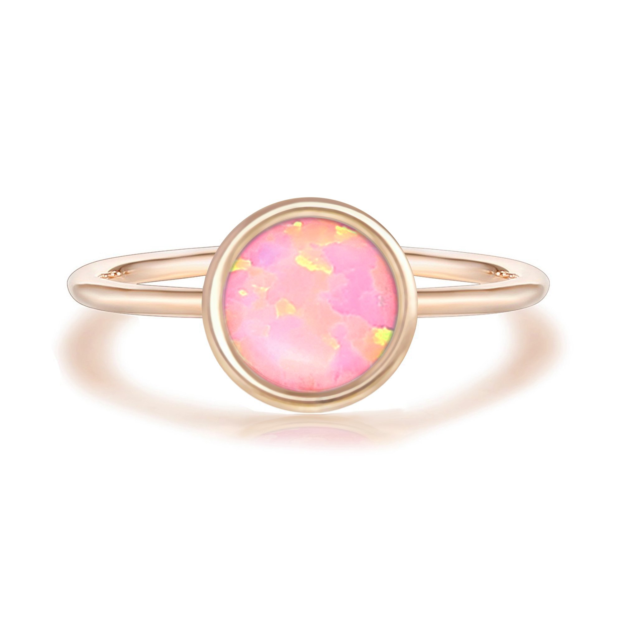 PAVOI 14K Rose Gold Plated Stackable Ring Created White Opal Stacking Ring