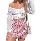 Foquaty Women's Y2k Style Short Skirt High Waist Zipper Back A-Line Cute Floral Print Mini Student Short Skirt with…