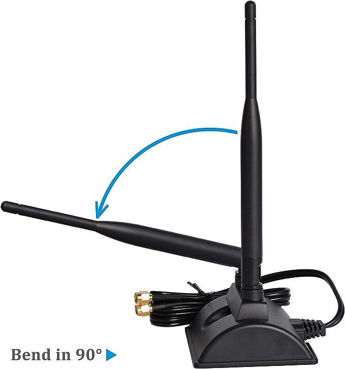 Antena WiFi 6dBi con conector RP-SMA macho, antena inalámbrica de doble banda de 2,4 GHz 5 GHz con base magnética para tarjeta de red WiFi PCI-E, ...