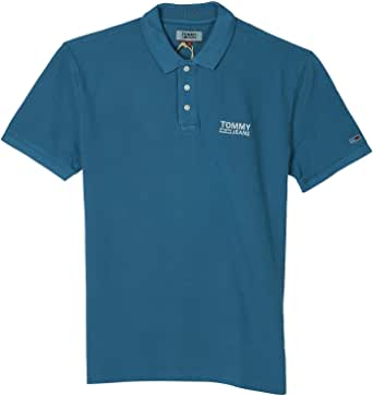 Tommy Jeans Men's TJM Logo Garment Dye Polo, Blue (Saxony Blue 413)