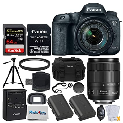 Canon EOS 7D Mark II DSLR Camera Body with W-E1 Wi-Fi Adapter + EF-S  18-135mm f/3 5-5 6 is USM Lens + 64GB Memory Card + Canon LP-E6N Battery +  DC59