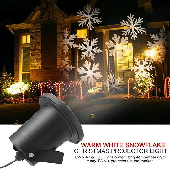 LED Projecteur Extérieur Noël, Dreamix 3W x 4 LED mouvement Etanche Blanc  Flocon de neige