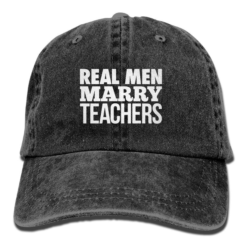 Real Men Marry Teachers Plain Adjustable Cowboy Cap Denim Hat for Women and Men