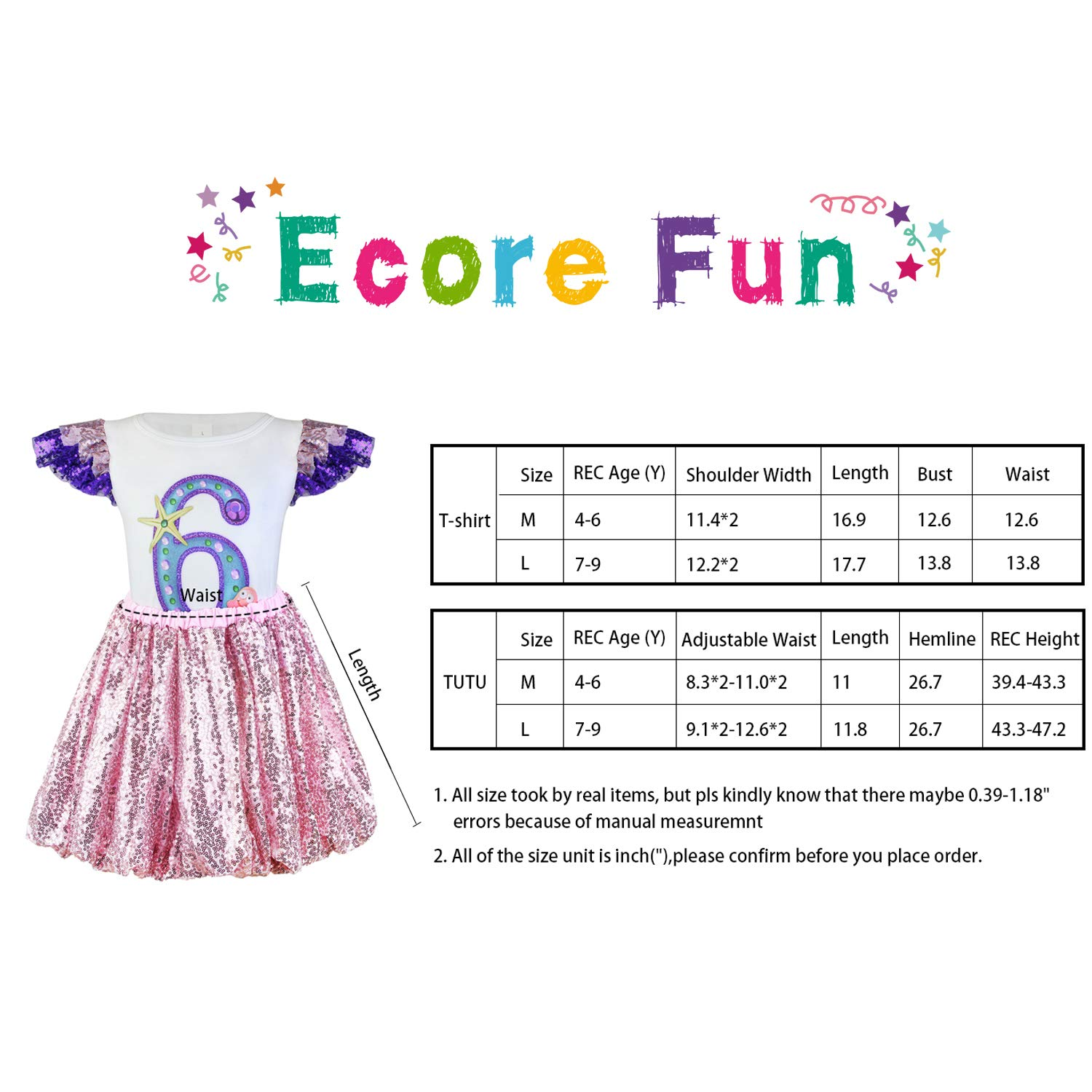 Ecore Fun Matching Girl /& Doll Clothes Outfits Dresses for 4-9 Years Girls and American 18 Inch Girl Doll