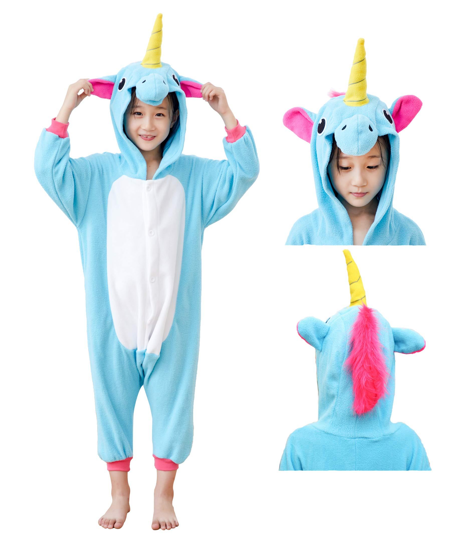 Mybei Unisex Kids Unicorn Onesie Cosplay Pajamas,Fleece One Piece Animal Costume for Boys Girls 10-12