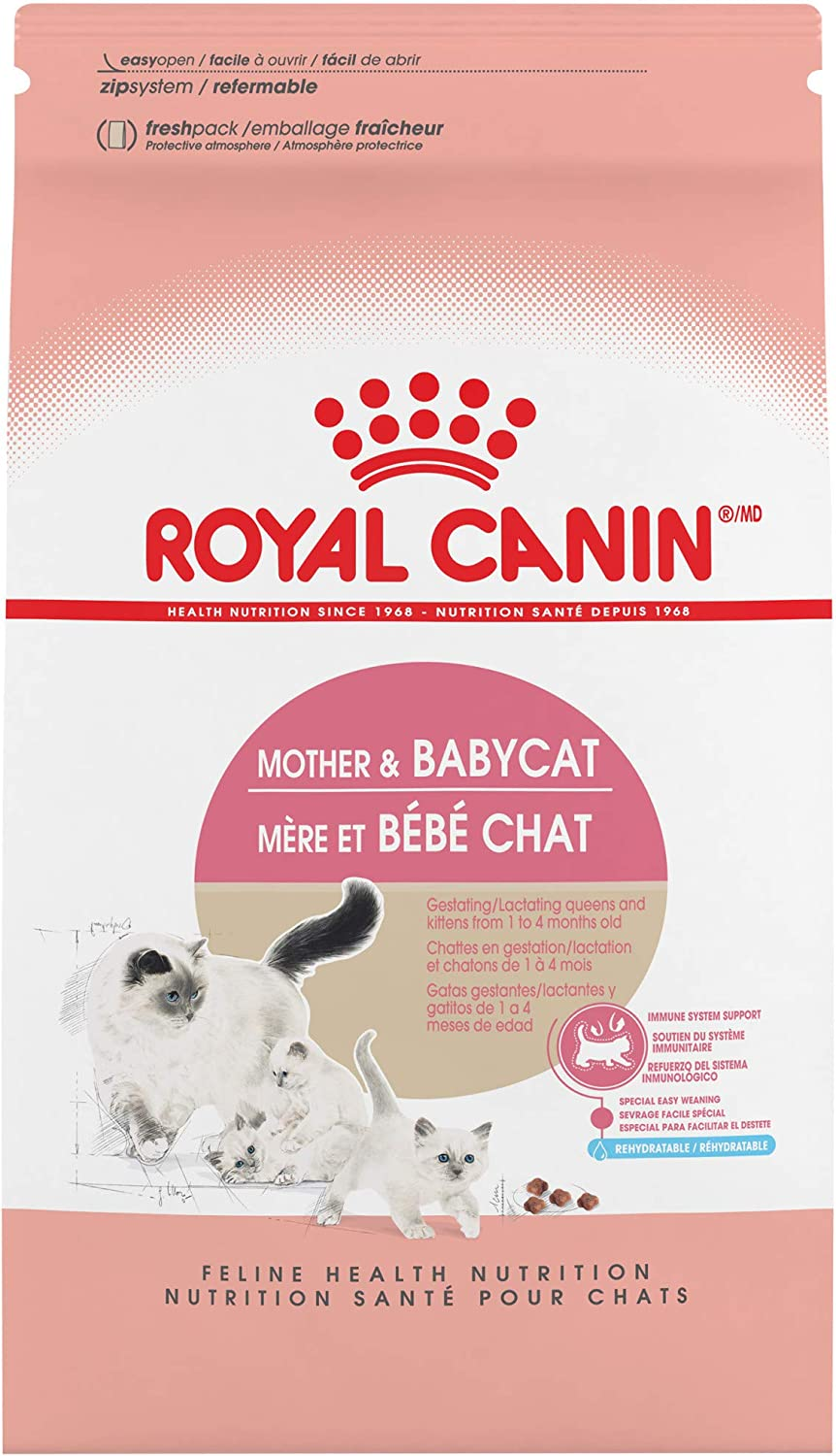 Royal Canin Feline Health Nutrition Mother & Babycat Dry Cat Food for Newborn Kittens and Pregnant or Nursing Cats, 7 Pound Bag