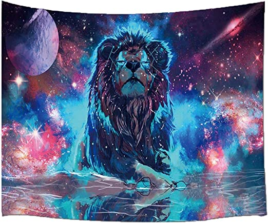 Amazon Com Bjyhiyh Psychedelic Lion Tapestry Universe Galaxy