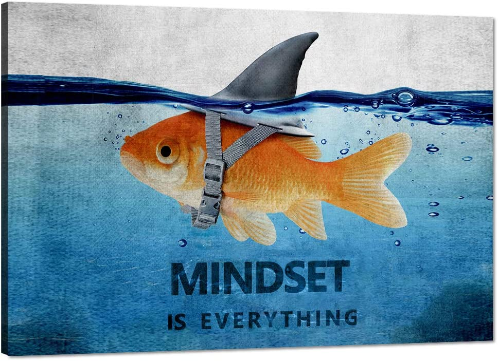 Modern Inspirational Canvas Wall Art Mindset Is Everything Goldfish Painting Artwork Motivational Quotes Office Wall Decor Entrepreneur Posters Ready to Hang for Home Decor - 12''Hx18''W