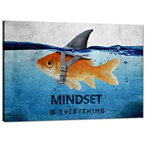 """Yatsen Bridge Inspirational Wall Art Goldfish Shark Pictures Blue and Grey Canvas Painting Motivational Quote Mindset Posters HD Prints Artwork Office Decor for Living Room Bedroom Framed (12""""Hx18""""W)"""