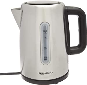 AmazonBasics Stainless Steel Portable Electric Hot Water Kettle - 1.7 Liter, Silver (Renewed)