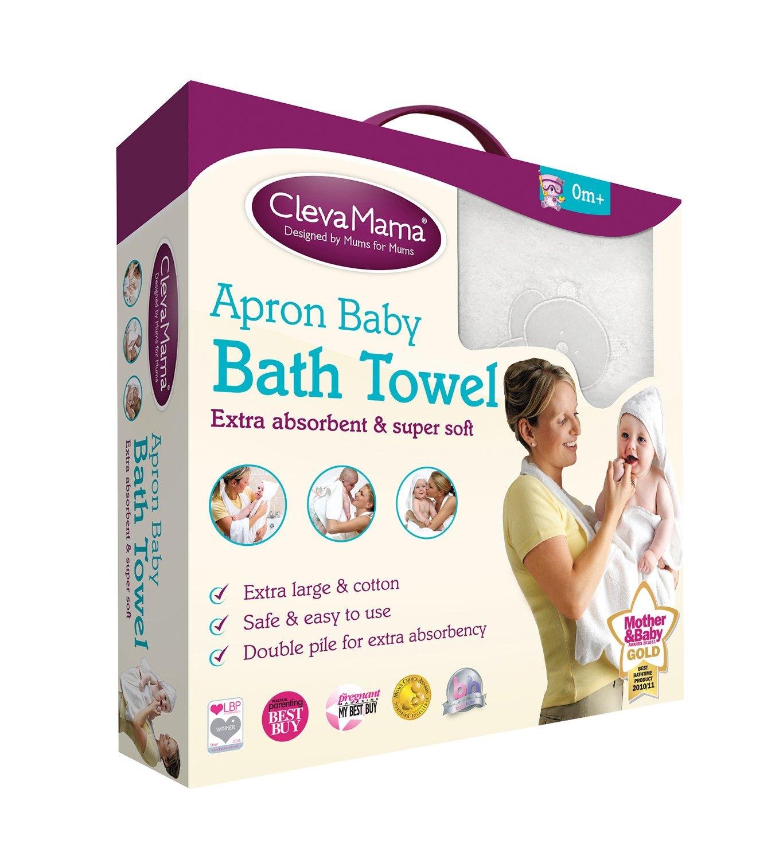 Splash n/' Wrap Clevamama Apron Baby Bath Towel with Hood Cotton, Blue
