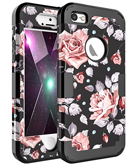 huge discount e9498 04cf3 OBBCase iPhone SE Case,iPhone 5S Case,iPhone 5 Case,Three Layer Heavy Duty  Hybrid Sturdy Armor High Impact Resistant Protective Cover Case for iPhone  ...