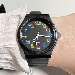Amazon Co Jp タイポタイム Typotime 腕時計 ハングル 文字盤 ホワイト 腕時計