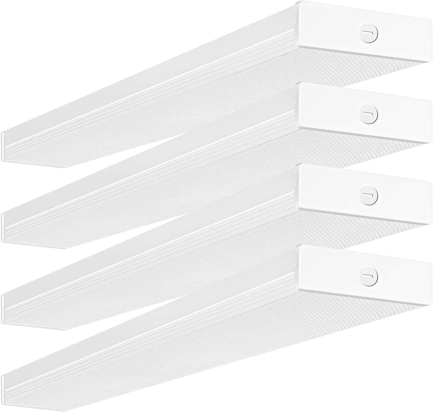 4FT LED Wraparound Light 40W 4 Foot LED Shop Lights for Garage, [2-lamp 32W Fluorescent Equiv.] 4400lm 4000K LED Wrap Light, Flushmount Office Ceiling Light Fixture ETL Listed 4 Pack