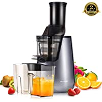 TILUXURY Slow Juicer,250w Wide Chute Masticating Juicer High Juice Yield Cold Pressing Juicer ,Quiet Motor and Reverse Function, with Juicer Brush and Cup,for Orange/Lemon /Citrus/Carrots