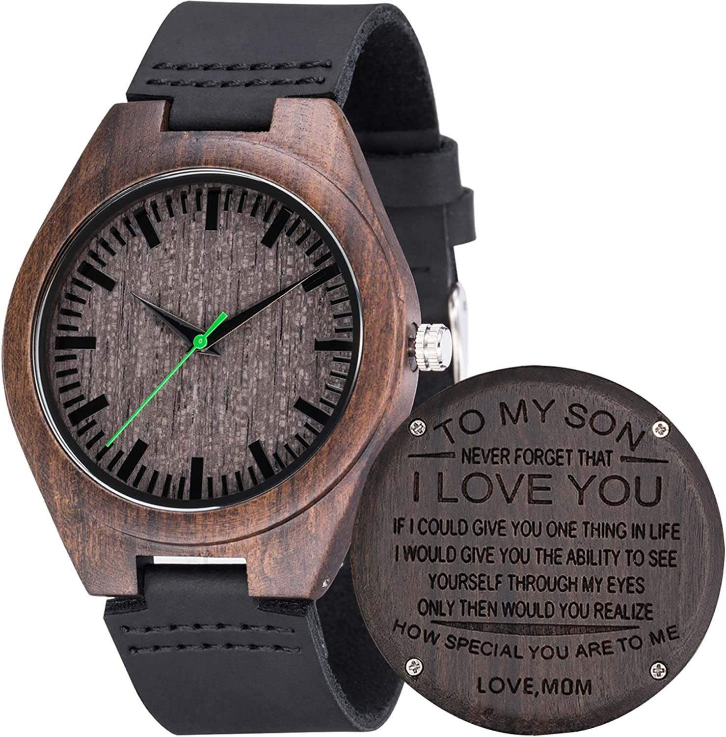 MUJUZE Engraved Watch for Men,Natural Personalized Black Sandalwood Wood Watches