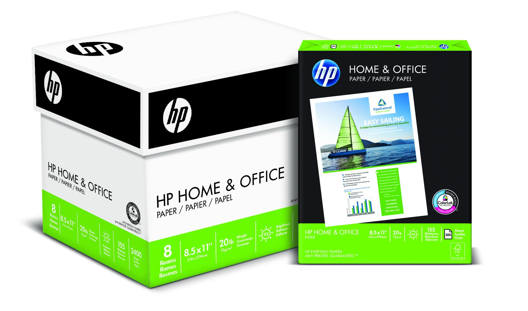 Hp Paper Home & Office Paper Poly Wrap 20Lb 8.5 X 11 Letter 92 Bright 2400 Sh.. 2