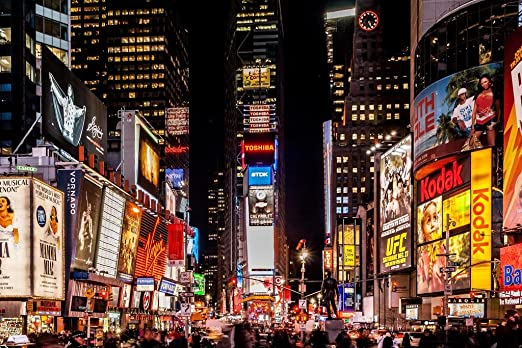 Amazon Com Times Square New York City Nyc At Night Photo Art Print Laminated Dry Erase Sign Poster 18x12 Posters Prints