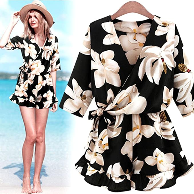 0dd1f5a040ef Amazon.com  Vovotrade Women Plus Size Floral Chiffon Playsuit Clubwear  Bodycon Party Jumpsuit Romper  Clothing