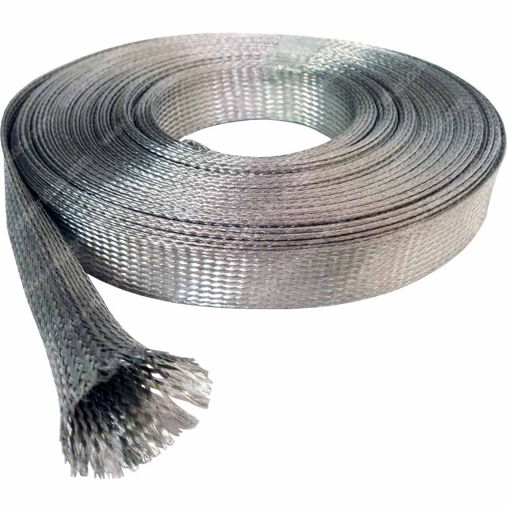 1/2'' Tinned Copper Metal Braided Sleeving (0.32'' Diameter) - 50FT